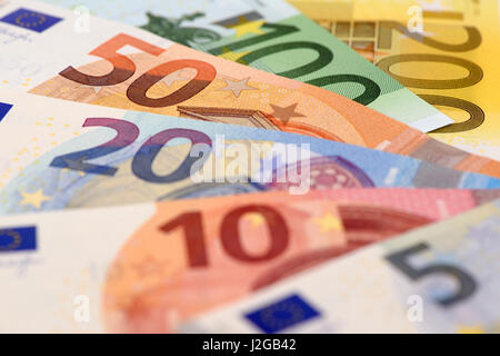 Euro banknotes and currency of Europe - Stock Photo