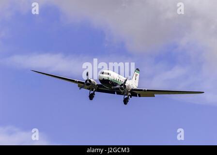 Air Atlantique Dakota. DC3 in flight. - Stock Photo