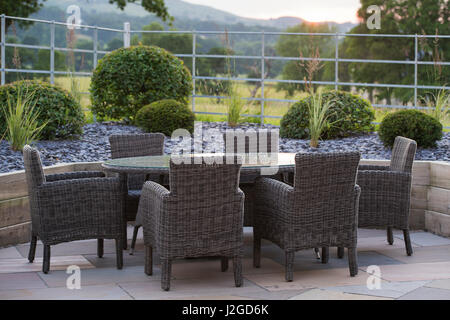 Beautiful, private, contemporary landscaped, garden, Yorkshire, England, UK - outdoor seating (patio furniture) - Stock Photo
