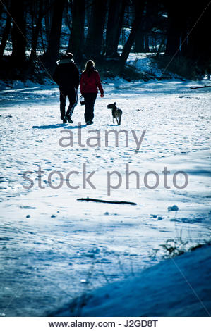 couple man and woman walking in the snow with their dog - Stock Photo