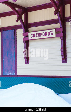 Crawford's Depot in Crawford Notch in New Hampshire's White Mountains. - Stock Photo