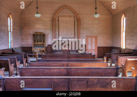 USA, California, Bodie State Historic Park. Inside abandoned Methodist Church. Credit as: Dennis Flaherty / Jaynes - Stock Photo
