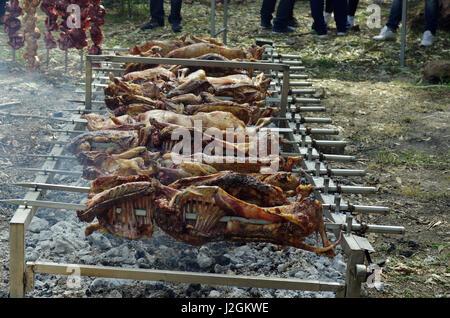 Bidon', Sardinia. Easter Monday village festival: lamb roasted - Stock Photo