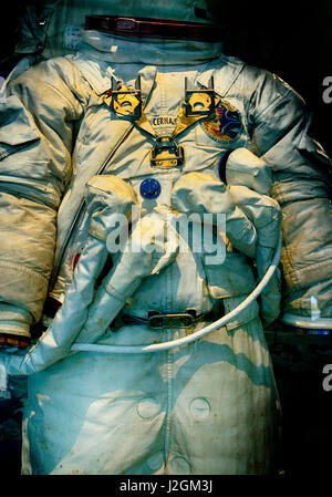 USA, Florida, Cape Canaveral, Kennedy Space Center. Commander Eugene Cernan space suit from the Apollo 17 lunar - Stock Photo