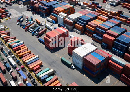 Aerial view of container port, Bayonne, New Jersey, U.S.A. - Stock Photo