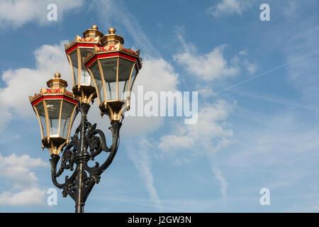 Victorian street lamps on Putney Bridge, London, SW15, UK - Stock Photo