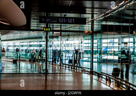 Dublin Airport, Ireland. Terminal One passenger arrivals corridor. - Stock Photo