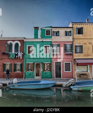 Pastels from the beautiful Island of Burano, Italy. I created these with texture as I felt that I was missing some - Stock Photo