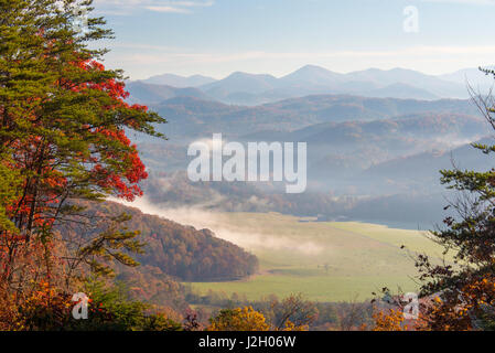 USA, Tennessee, Morning light. Fog in valleys Smoky Mountain National Park viewed from Foothills Parkway - Stock Photo
