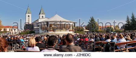 Europe, Balkans, Bosnia and Herzegovina, Medjugorje. An open air mass at James Parish Church in Medjugorje - Stock Photo