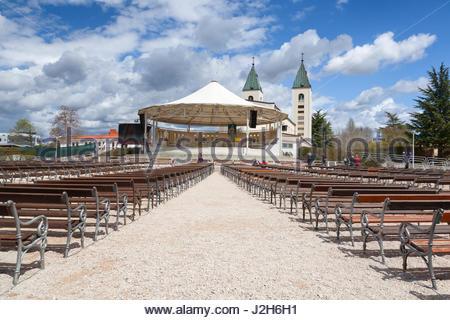 Europe, Balkans, Bosnia and Herzegovina,  Saint James Parish Church in Medjugorje - Stock Photo
