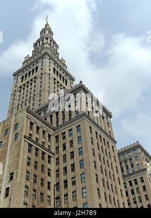 The Terminal Tower landmark skyscraper in Cleveland, Ohio, United States. - Stock Photo