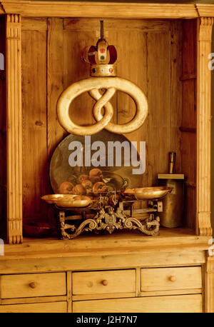 Antique cabinet. and weight scales - Stock Photo