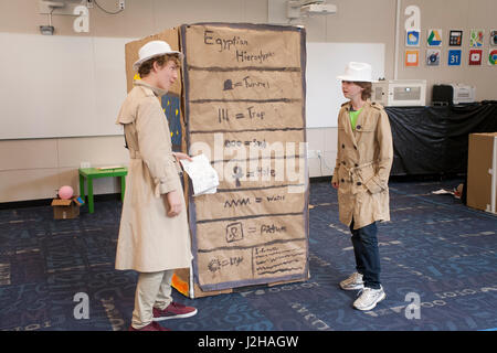 Laguna Beach, CA, middle school students dramatize discussion of ancient civilizations during a Destination Imagination - Stock Photo