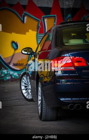 BMW 3 Series E92 Wallpaper Background Full HD 4K UHD Monaco Blue M Sport Package - Stock Photo