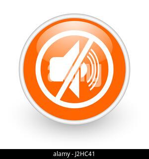 Mute modern design glossy orange web icon on white background. - Stock Photo