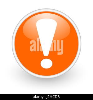 Exclamation sign modern design glossy orange web icon on white background. - Stock Photo