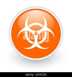 Biohazard modern design glossy orange web icon on white background. - Stock Photo