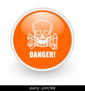 Danger skull modern design glossy orange web icon on white background. - Stock Photo
