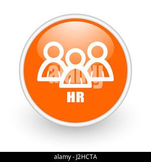 HR modern design glossy orange web icon on white background. - Stock Photo