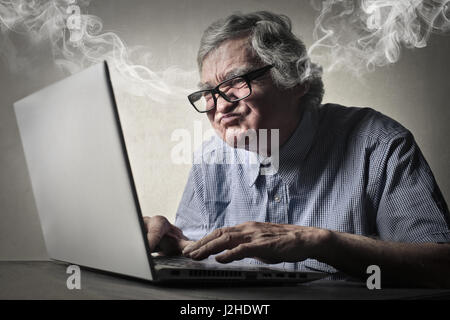Mad businessman, steam coming out of his ears - Stock Photo