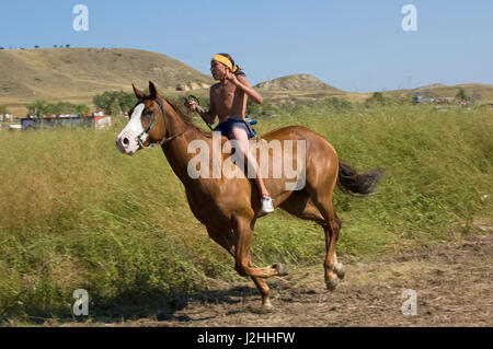 Horses were introduced to the Mandan, Hidatsa and Arikara early on. Today the horse remains an important way of - Stock Photo