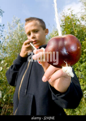 Boy Playing Conkers - Stock Photo