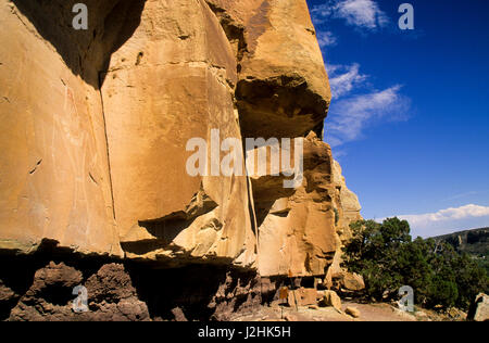 Freemont petroglyph rock art on canyon panel on the McConkie Ranch up Dry Forks of Nine Mile Canyon, Utah - Stock Photo