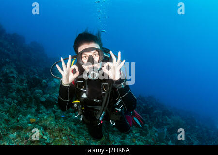 Female SCUBA Diver on a Coral Reef - Stock Photo