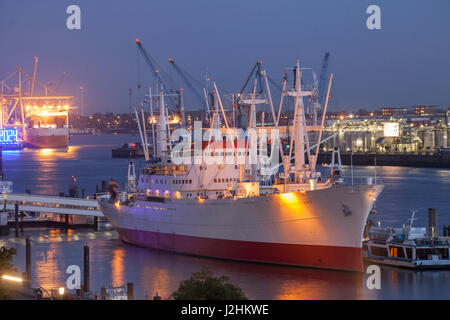 River Elbe, Ship Cap San Diego and Elbphilharmonie at dusk, Hamburg, Germany, Europe   I  Hamburg : Elbe und Dampfer - Stock Photo