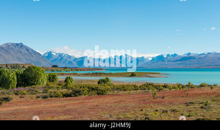 View of Lake Tekapo and Southern Alps, Canterbury Region, Southland, New Zealand - Stock Photo