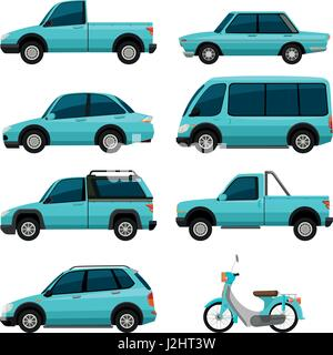 different types of transportations in blue color illustration