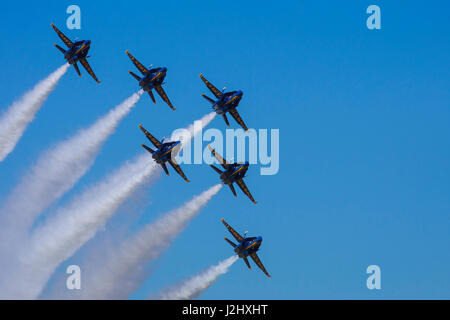 Blue Angels delta at the Airshow of the Cascades. - Stock Photo