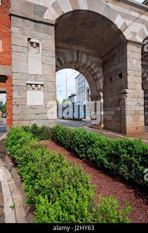 Italy, Lombardy, Milan, Via Alessandro Manzoni Street, Archi di Porta Nuova, Gates of the Medieval Walls Around - Stock Photo