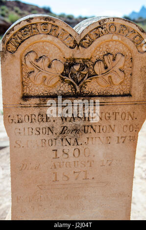 Tombstones in the cemetery in Grafton ghost town, Utah, USA. - Stock Photo