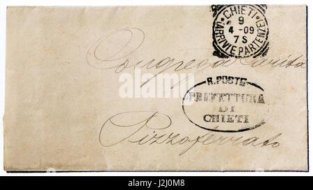Early 19th century hand-written Italian envelope. - Stock Photo
