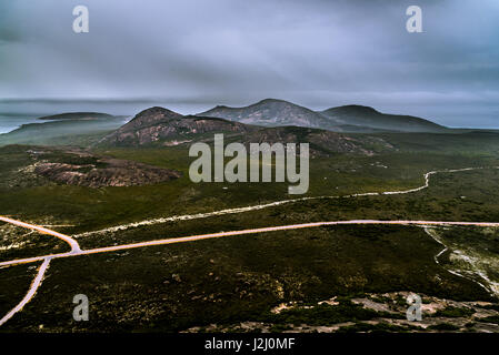 View from the top of Frenchman Peak to the mt Le Grand in Cape Le Grand National Park, Western Australia - Stock Photo