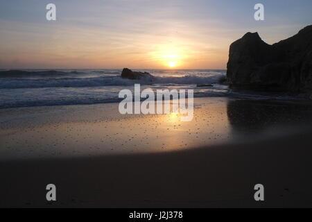 Chiringuitos beach (Gale beach) scenery in Albufeira. Algarve, Portugal - Stock Photo