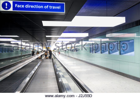 tunnel to Terminal 2b departures on the first day of operation of the new Queens's Terminal, Heathrow Airport, Hillingdon, - Stock Photo