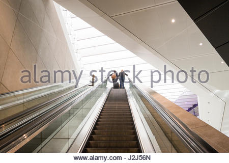 escalator going up to Terminal 2b departures on the first day of operation of the new Queens's Terminal, Heathrow - Stock Photo