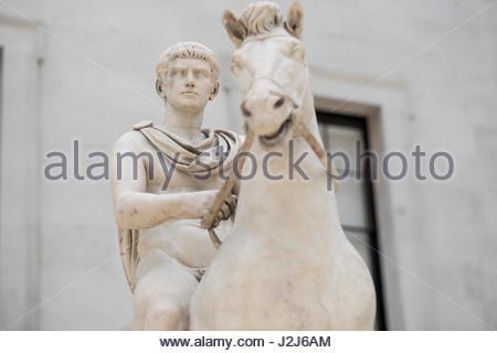 Marble equestrian statue of Emperor Gaius Caligula in the Queen Elizabeth II Great Court central quadrangle of the - Stock Photo