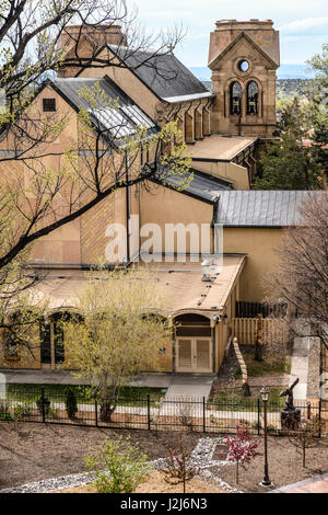 A high view of Saint Francis Cathedral in old town Santa Fe, New Mexico - Stock Photo