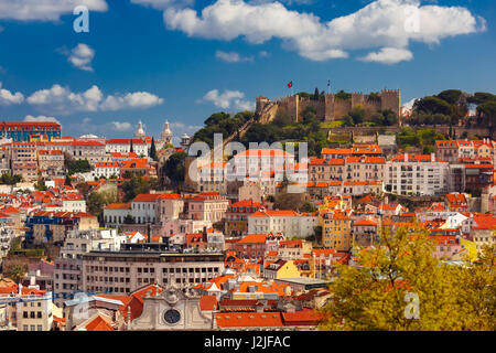 Historical centre of Lisbon on sunny day, Portugal - Stock Photo