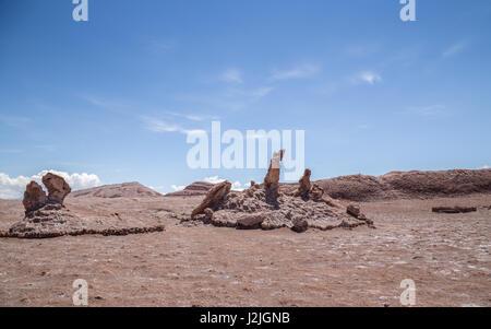 Tres Marias rock formations and Dinosaur Head rock in Valle de la Luna (Moon Valley), near San Pedro de Atacama - Stock Photo