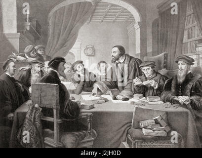 Calvin at a council in Geneva in 1594.  John Calvin, 1509 – 1564.  Influential French theologian, pastor and reformer - Stock Photo