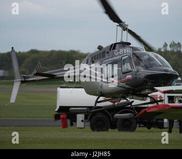 Bell 206B Jet Ranger III, helicopter takes off at North Weald Airfield - Stock Photo