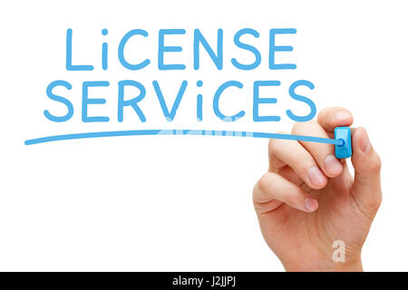 Hand writing License Services with blue marker on transparent wipe board. - Stock Photo