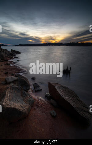 This is an image taken in the early evening at Mountain View Park on Lake Lanier.  Mountain View Park is located - Stock Photo