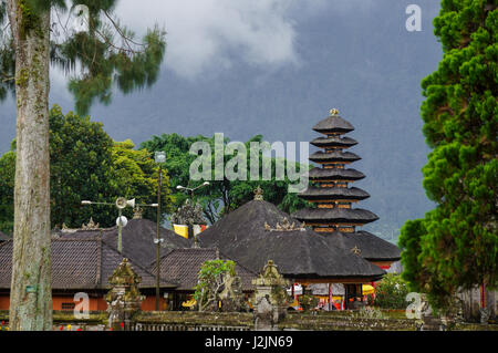 The temple at lake Beratan in Bali, Indonesia - Stock Photo