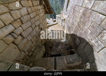 Looking down on some of the fountains in Machu Picchu (Peru) - Stock Photo
